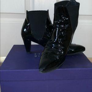 Stuart Weitzman Scooped Black Patent Heels